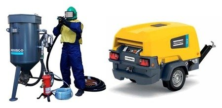 Compressor Atlas Copco XAS 78 Kd and OPTIMAL Clemco package 200L